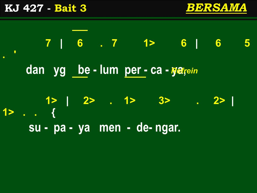 7 | 6. 7 1> 6 | 6 5. dan yg be - lum per - ca - ya, 1> | 2>.