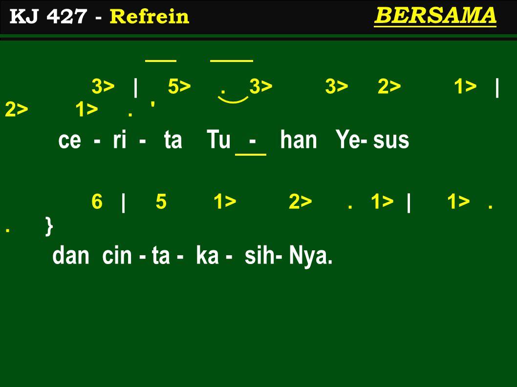 3> | 5>. 3> 3> 2> 1> | 2> 1>. ce - ri - ta Tu - han Ye- sus 6 | 5 1> 2>.