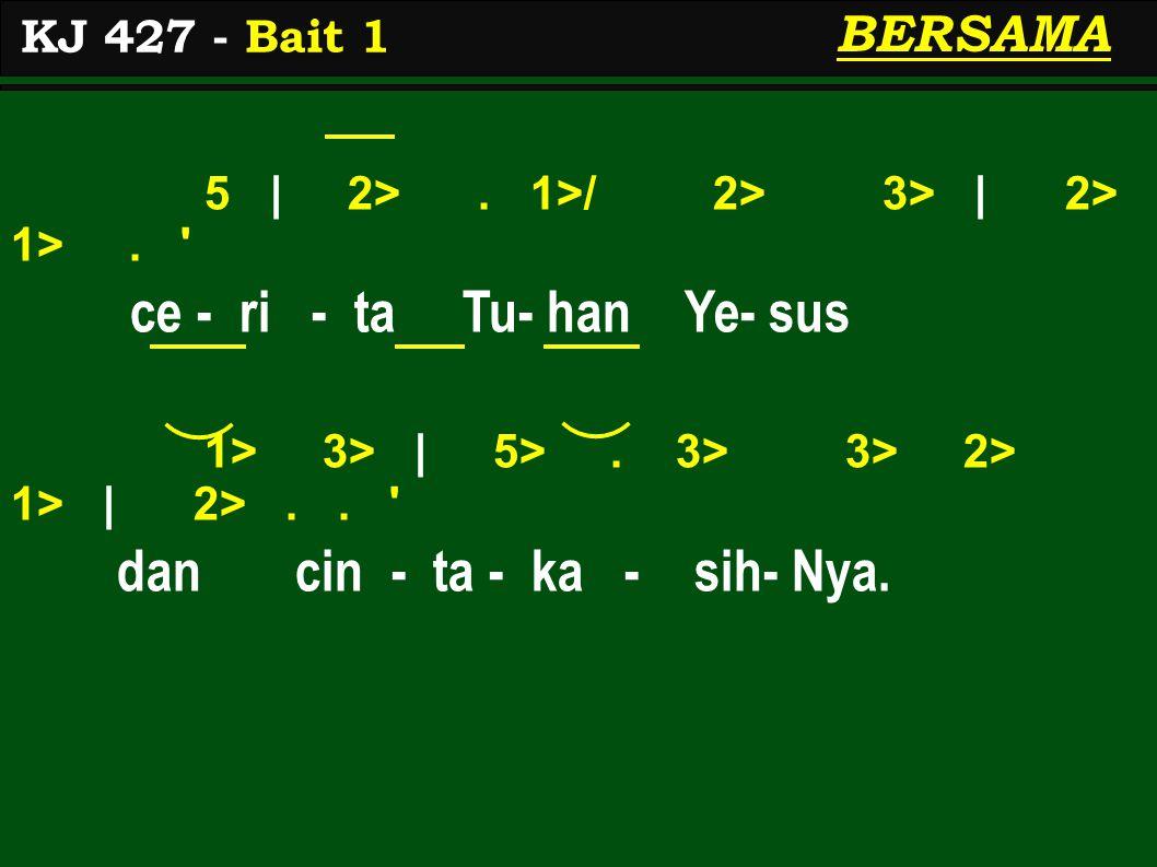 5 | 2>. 1>/ 2> 3> | 2> 1>. ce - ri - ta Tu- han Ye- sus 1> 3> | 5>.