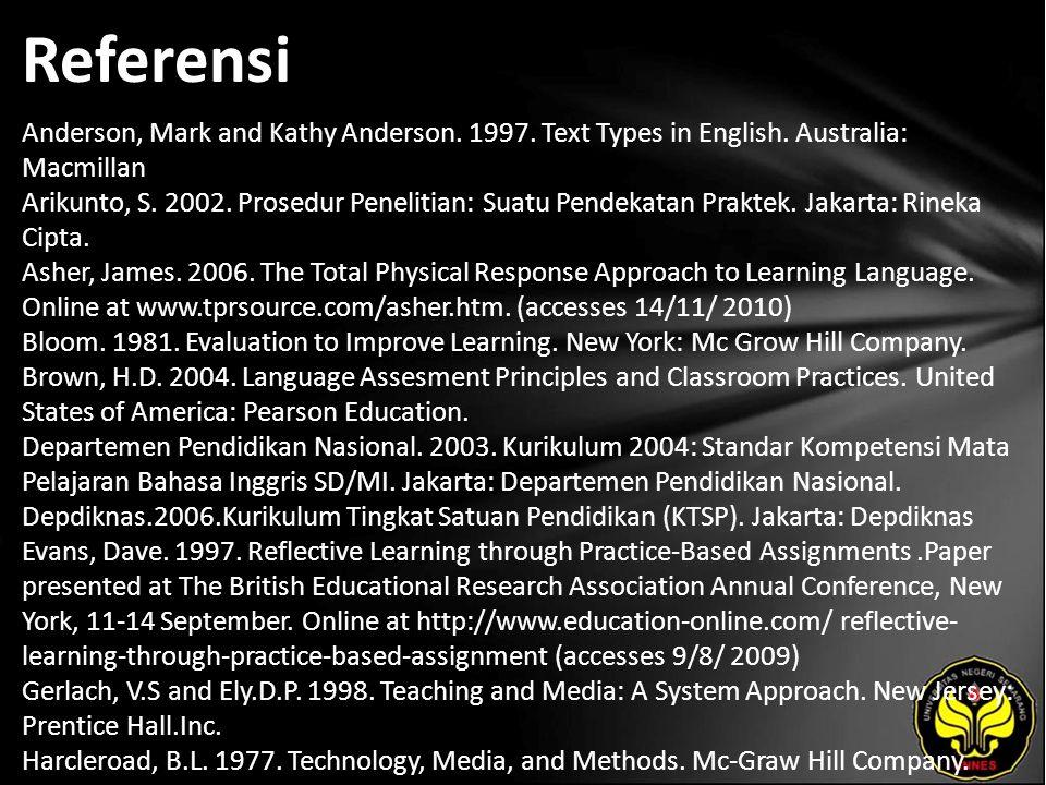 Referensi Anderson, Mark and Kathy Anderson. 1997. Text Types in English. Australia: Macmillan Arikunto, S. 2002. Prosedur Penelitian: Suatu Pendekata