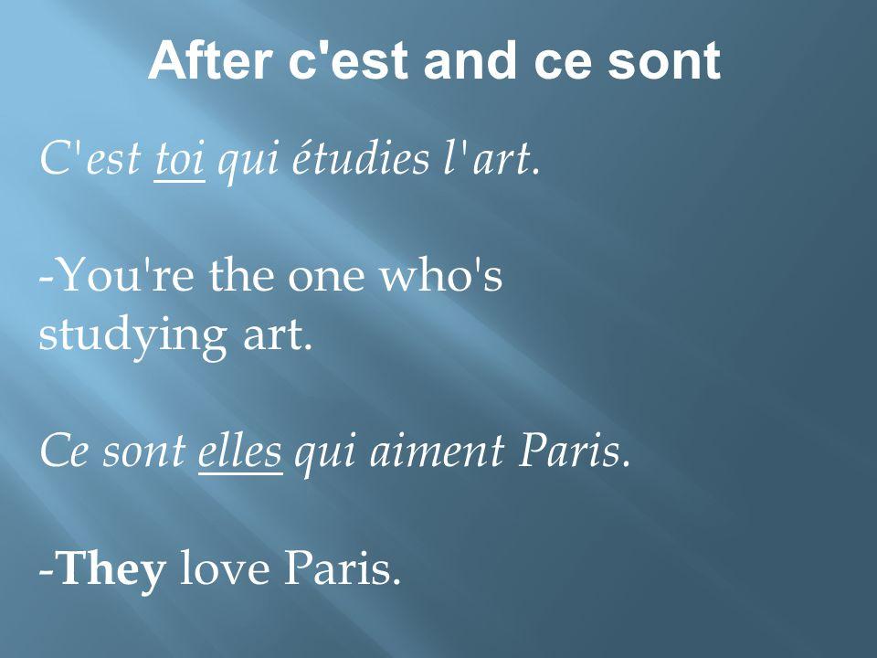 After c est and ce sont C est toi qui étudies l art.