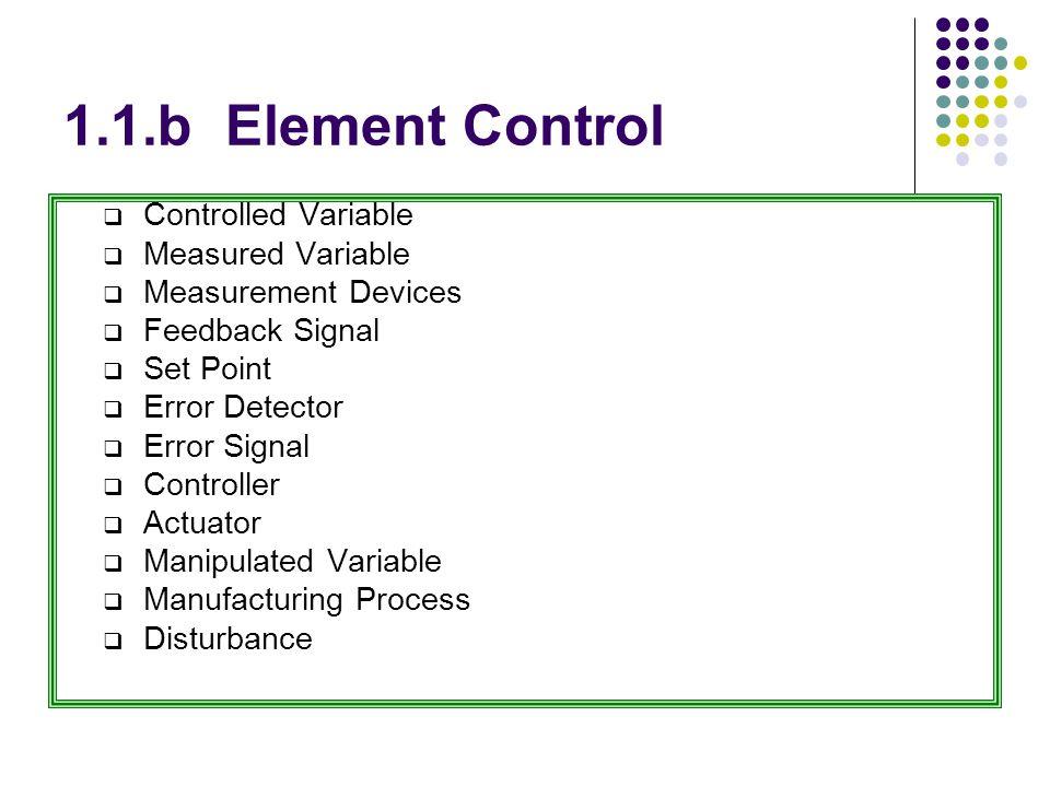Element control (cont.)  Controlled Variable adalah variabel actual yang dimonitor dan di maintain , seperti Temperature, pressure, flow rate, level dll.
