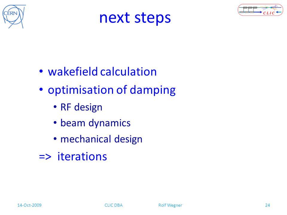 14-Oct-2009CLIC DBA Rolf Wegner24 next steps wakefield calculation optimisation of damping RF design beam dynamics mechanical design => iterations