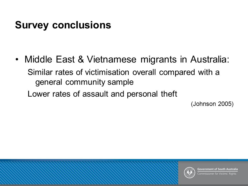 Survey conclusions Middle East & Vietnamese migrants in Australia: Similar rates of victimisation overall compared with a general community sample Low