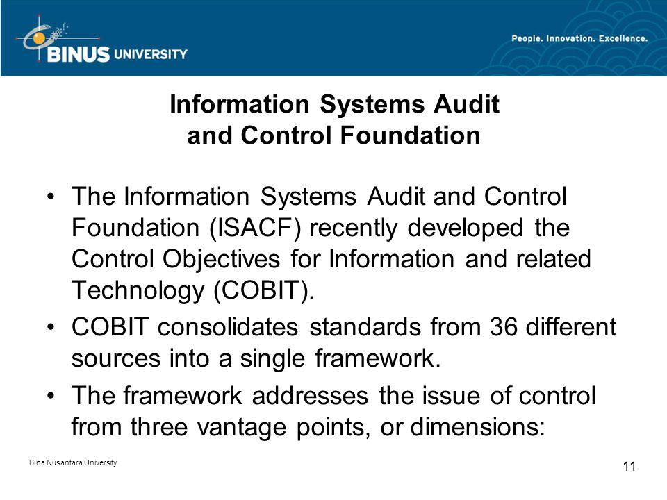 Bina Nusantara University 10 Five Interrelated Components of Internal Control 1. Control environment- tone at the top 2. Risk assessment - identificat