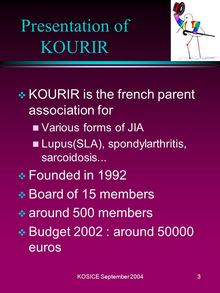 KOSICE September 20042 The KOURIR association  Presentation of KOURIR  Objectives n Information - Communication n Research n Actions for children and parents