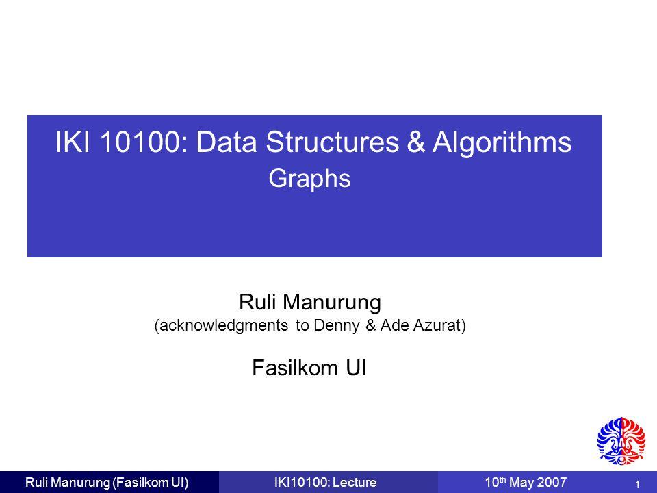 32 Ruli Manurung (Fasilkom UI)IKI10100: Lecture10 th May 2007 Dijkstra's Algorithm: Stages V0V0 V1V1 V2V2 V3V3 V4V4 V5V5 V6V6 5 2 1 2 5 8 1 4 2 3 10 1 5  2 5 6 4 0 After V 3 added to the white cloud, update D[V x ] where V x is adjacent to V 3