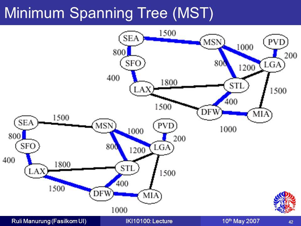 42 Ruli Manurung (Fasilkom UI)IKI10100: Lecture10 th May 2007 Minimum Spanning Tree (MST)