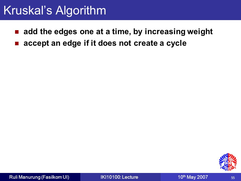 55 Ruli Manurung (Fasilkom UI)IKI10100: Lecture10 th May 2007 Kruskal's Algorithm add the edges one at a time, by increasing weight accept an edge if it does not create a cycle