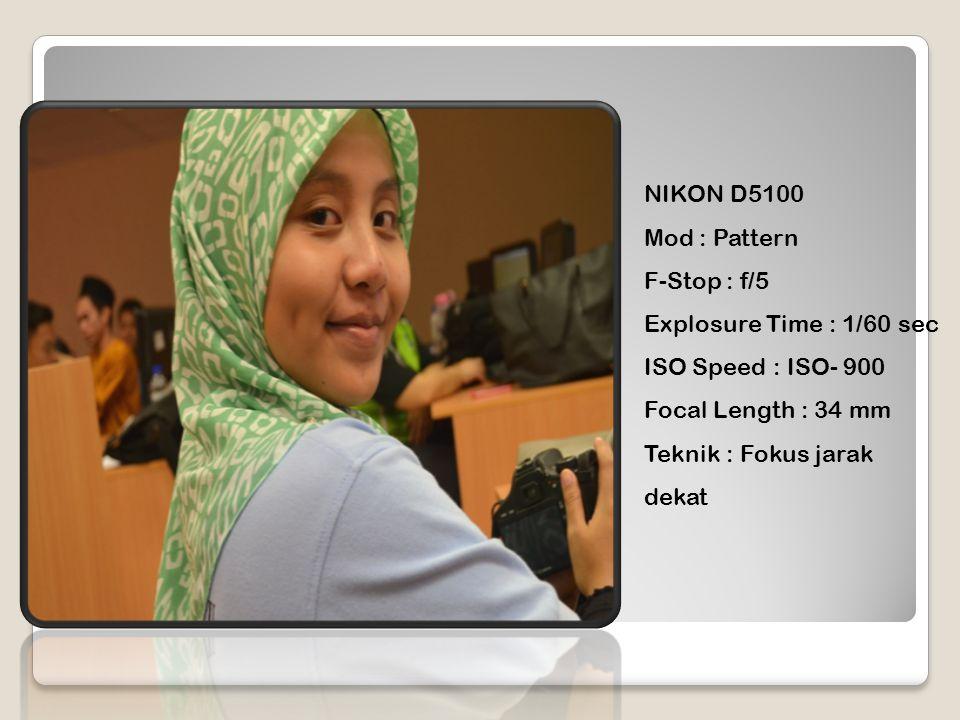 NIKON D5100 Mod : Pattern F-Stop : f/5 Explosure Time : 1/60 sec ISO Speed : ISO- 900 Focal Length : 34 mm Teknik : Fokus jarak dekat
