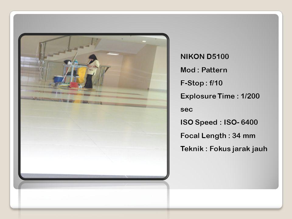 NIKON D5100 Mod : Pattern F-Stop : f/10 Explosure Time : 1/200 sec ISO Speed : ISO- 6400 Focal Length : 34 mm Teknik : Fokus jarak jauh