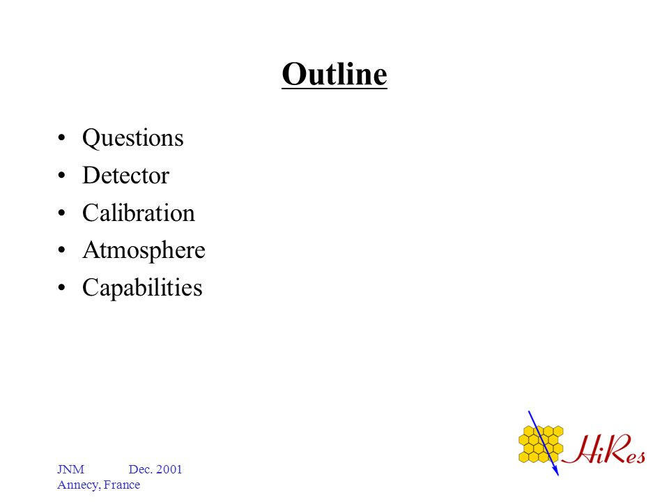 JNM Dec. 2001 Annecy, France Outline Questions Detector Calibration Atmosphere Capabilities