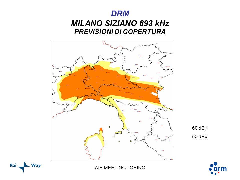 AIR MEETING TORINO DRM MILANO SIZIANO 693 kHz PREVISIONI DI COPERTURA 60 dBµ 53 dBµ