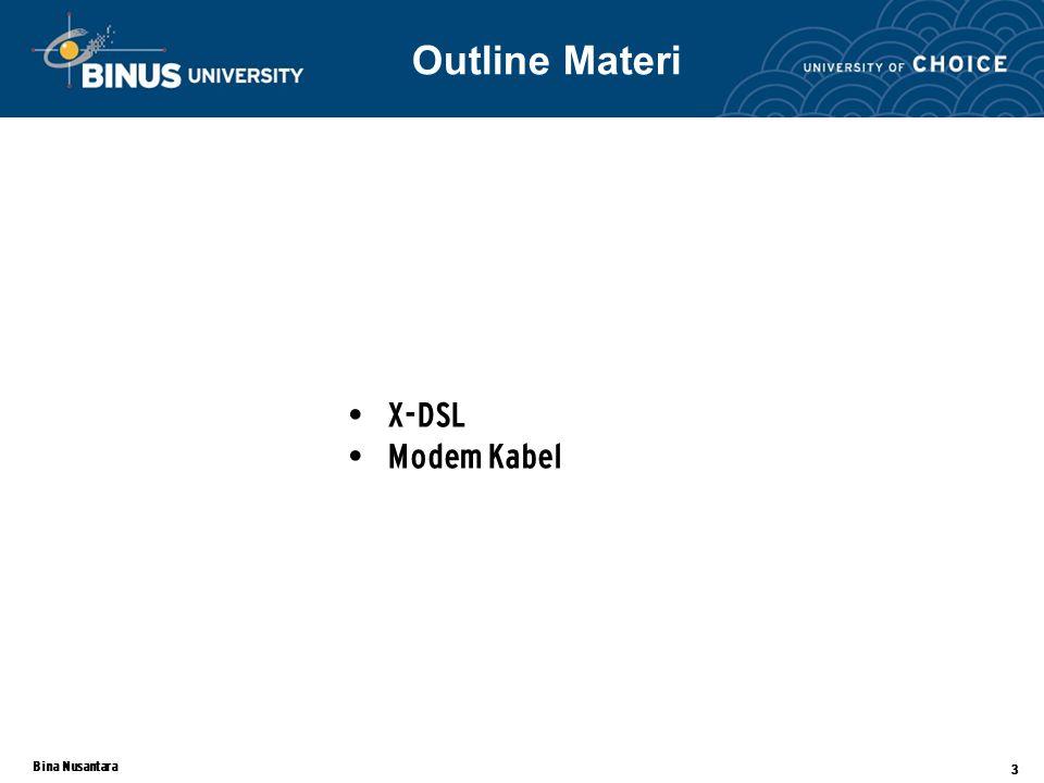Bina Nusantara 3 X-DSL Modem Kabel Outline Materi
