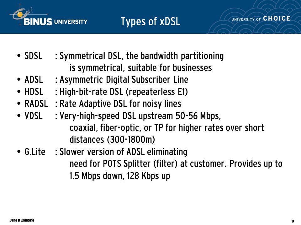 Bina Nusantara 8 Types of xDSL SDSL: Symmetrical DSL, the bandwidth partitioning is symmetrical, suitable for businesses ADSL: Asymmetric Digital Subs