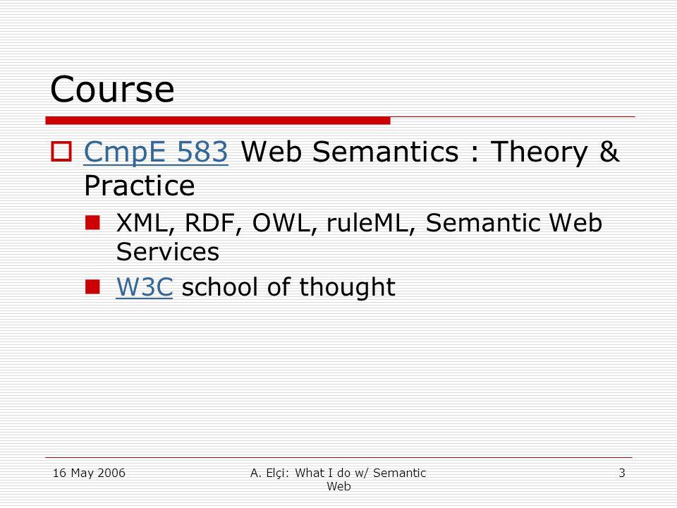 16 May 2006A. Elçi: What I do w/ Semantic Web 3 Course  CmpE 583 Web Semantics : Theory & Practice CmpE 583 XML, RDF, OWL, ruleML, Semantic Web Servi