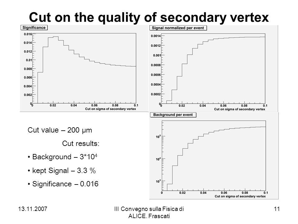 13.11.2007III Convegno sulla Fisica di ALICE. Frascati 11 Cut on the quality of secondary vertex Cut value – 200 μm Cut results: Background – 3*10 4 k