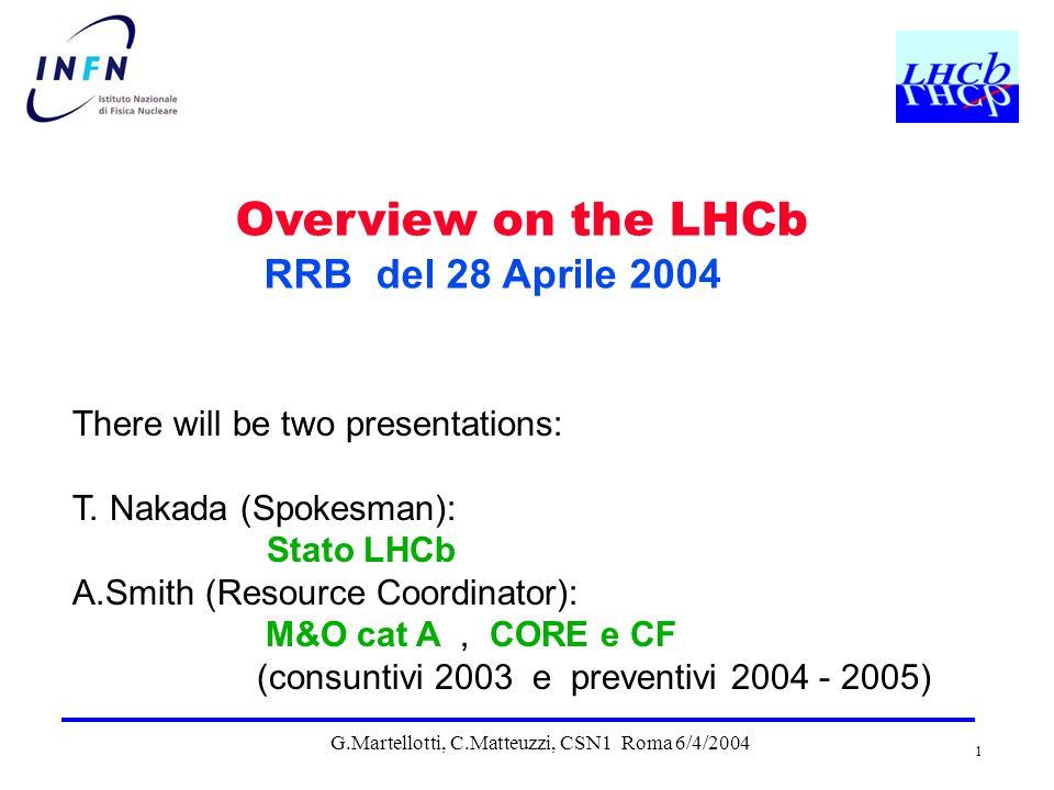 G.Martellotti, C.Matteuzzi, CSN1 Roma 6/4/2004 1 There will be two presentations: T.