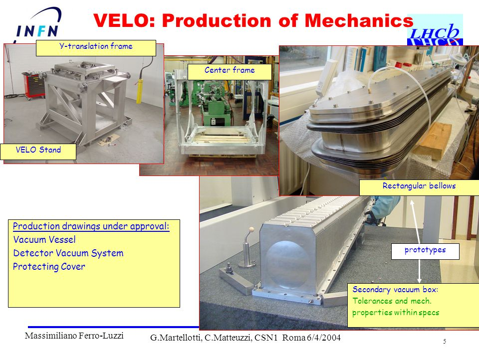 G.Martellotti, C.Matteuzzi, CSN1 Roma 6/4/2004 5 VELO: Production of Mechanics Production drawings under approval: Vacuum Vessel Detector Vacuum System Protecting Cover VELO Stand Y-translation frame Center frame Rectangular bellows Secondary vacuum box: Tolerances and mech.