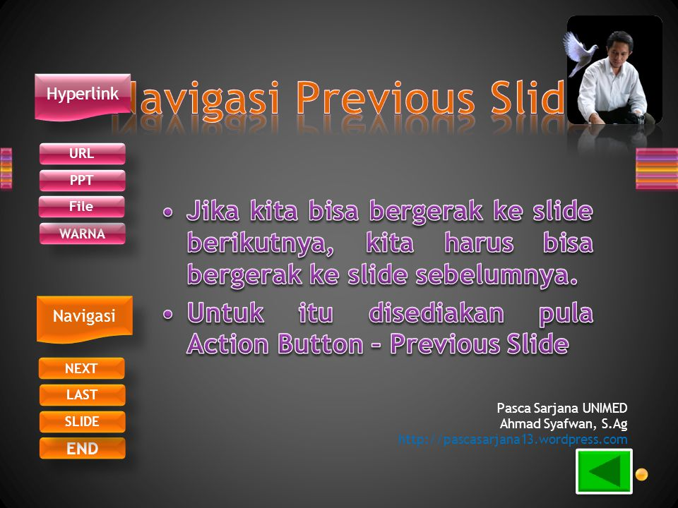 URL PPT WARNA NEXT END LAST SLIDE Hyperlink Navigasi File Pasca Sarjana UNIMED Ahmad Syafwan, S.Ag http://pascasarjana13.wordpress.com