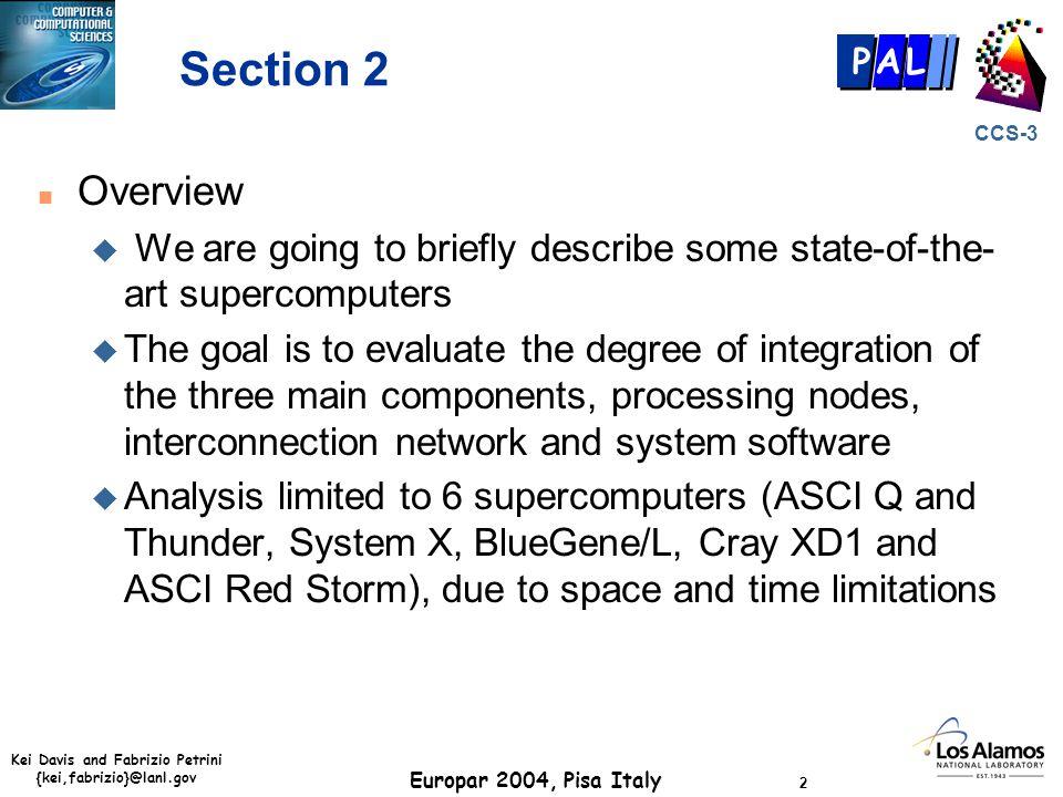 Kei Davis and Fabrizio Petrini {kei,fabrizio}@lanl.gov Europar 2004, Pisa Italy 23 CCS-3 P AL BlueGene/L Interconnection Networks 3 Dimensional Torus u Interconnects all compute nodes (65,536) u Virtual cut-through hardware routing u 1.4Gb/s on all 12 node links (2.1 GBytes/s per node) u 350/700 GBytes/s bisection bandwidth u Communications backbone for computations Global Tree u One-to-all broadcast functionality u Reduction operations functionality u 2.8 Gb/s of bandwidth per link u Latency of tree traversal in the order of 5 µs u Interconnects all compute and I/O nodes (1024) Ethernet u Incorporated into every node ASIC u Active in the I/O nodes (1:64) u All external comm.