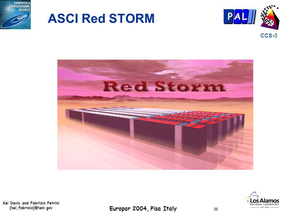 Kei Davis and Fabrizio Petrini {kei,fabrizio}@lanl.gov Europar 2004, Pisa Italy 35 CCS-3 P AL ASCI Red STORM