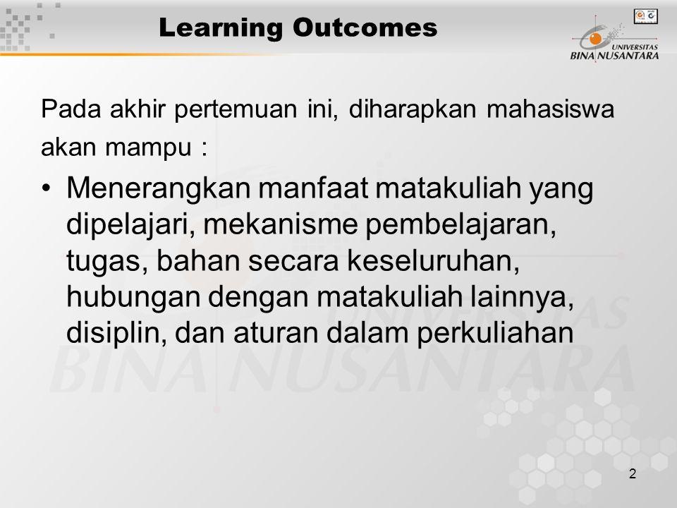 2 Learning Outcomes Pada akhir pertemuan ini, diharapkan mahasiswa akan mampu : Menerangkan manfaat matakuliah yang dipelajari, mekanisme pembelajaran, tugas, bahan secara keseluruhan, hubungan dengan matakuliah lainnya, disiplin, dan aturan dalam perkuliahan