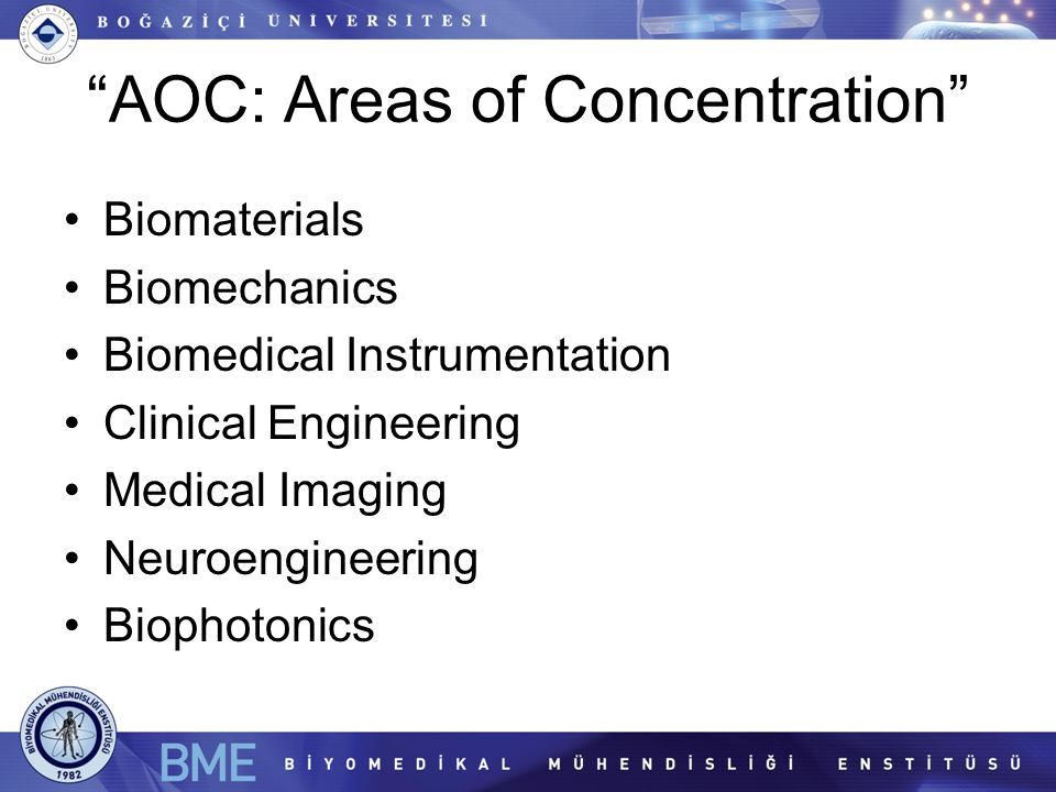 AOC: Areas of Concentration Biomaterials Biomechanics Biomedical Instrumentation Clinical Engineering Medical Imaging Neuroengineering Biophotonics