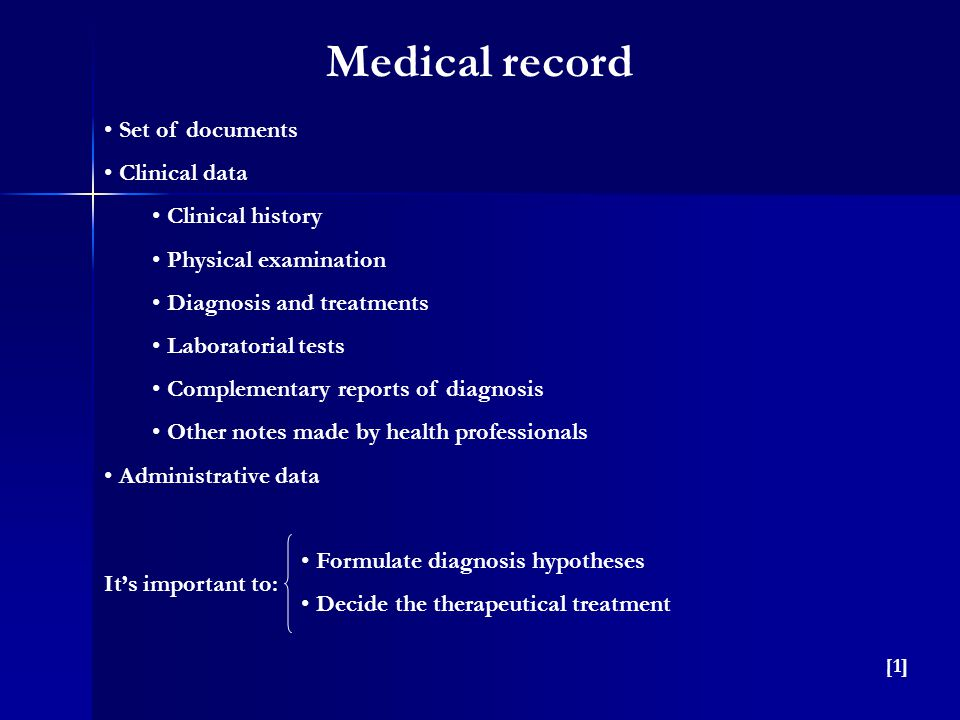 Set of documents Clinical data Clinical history Physical examination Diagnosis and treatments Laboratorial tests Complementary reports of diagnosis Ot
