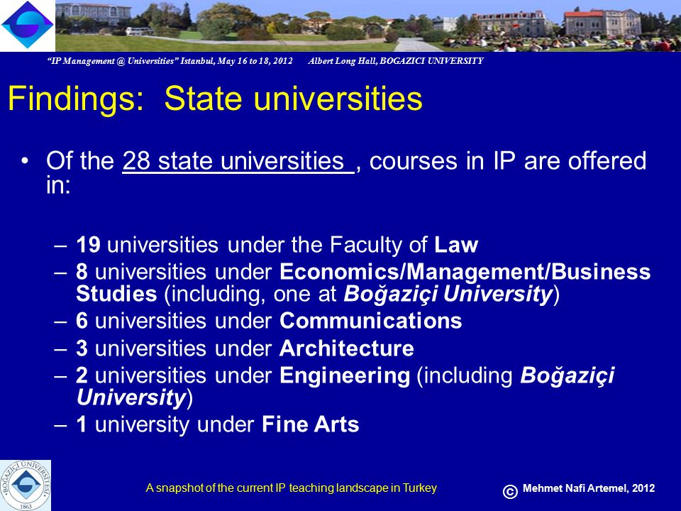 IP Management @ Universities Istanbul, May 16 to 18, 2012 Albert Long Hall, BOGAZICI UNIVERSITY A snapshot of the current IP teaching landscape in Turkey © Mehmet Nafi Artemel, 2012 Findings: Foundation Universities Of the 35 private universities, courses in IP are offered in: –31 universities under the Faculty of Law –11 universities under Fine Arts/Architecture –6 universities under Economics/Management –2 universities under EU Relations