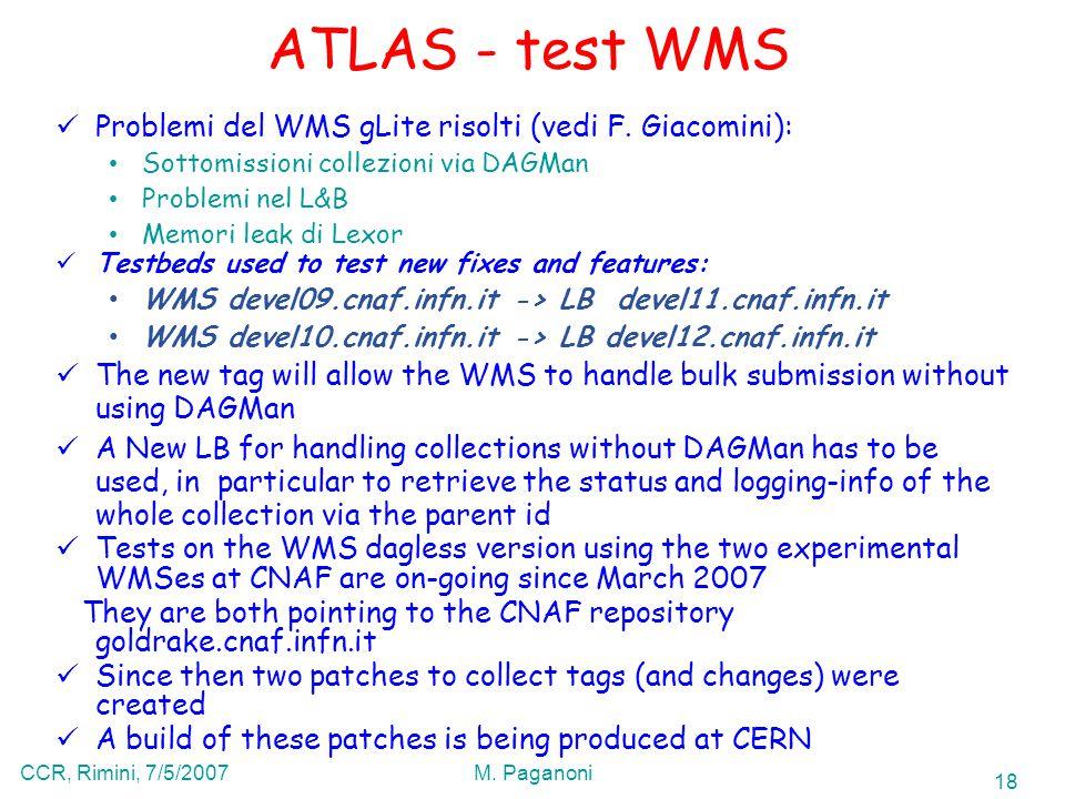 18 CCR, Rimini, 7/5/2007M. Paganoni ATLAS - test WMS Problemi del WMS gLite risolti (vedi F.