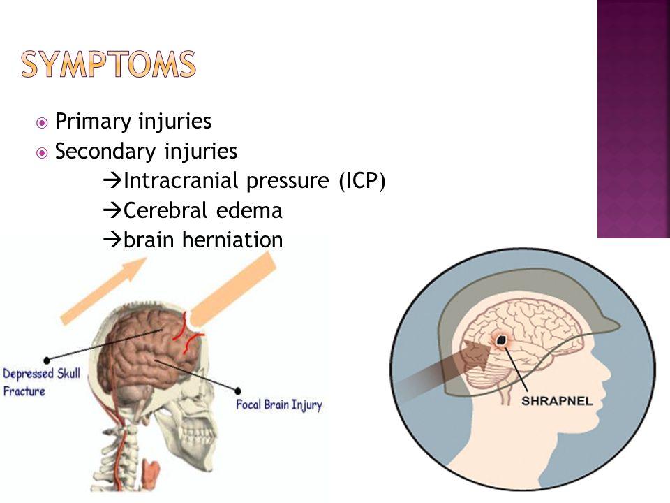  Primary injuries  Secondary injuries  Intracranial pressure (ICP)  Cerebral edema  brain herniation