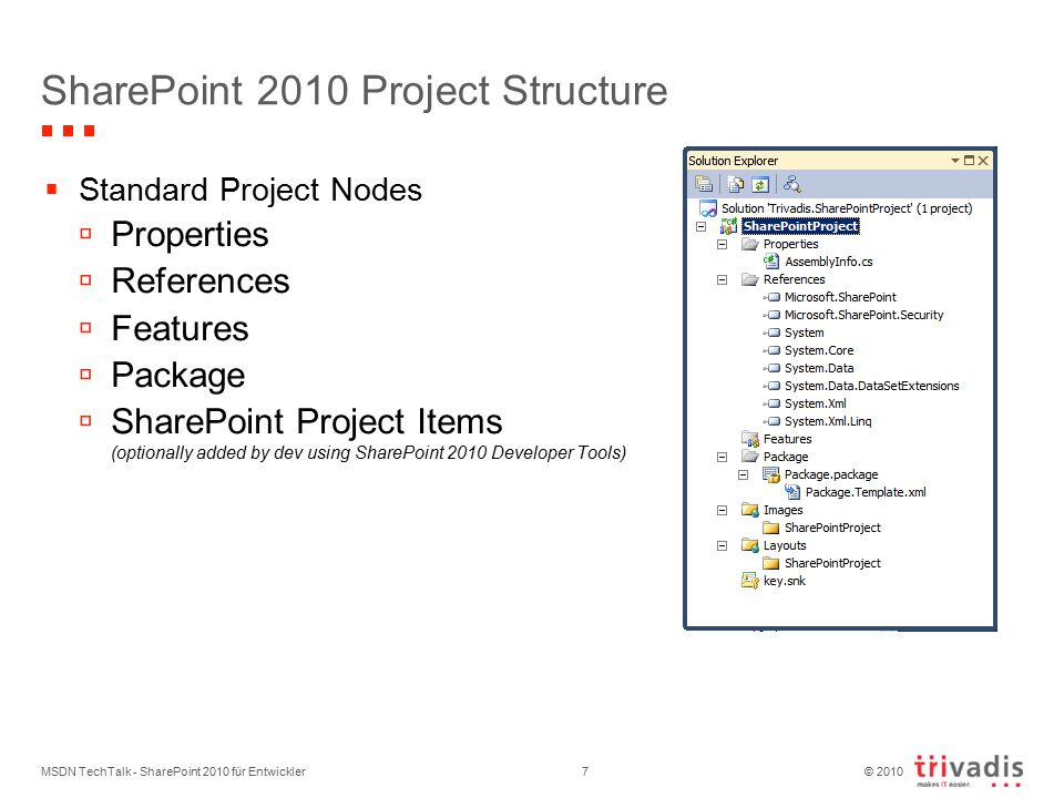 © 2010 SharePoint 2010 Project Structure  Standard Project Nodes  Properties  References  Features  Package  SharePoint Project Items (optionally added by dev using SharePoint 2010 Developer Tools) MSDN TechTalk - SharePoint 2010 für Entwickler7