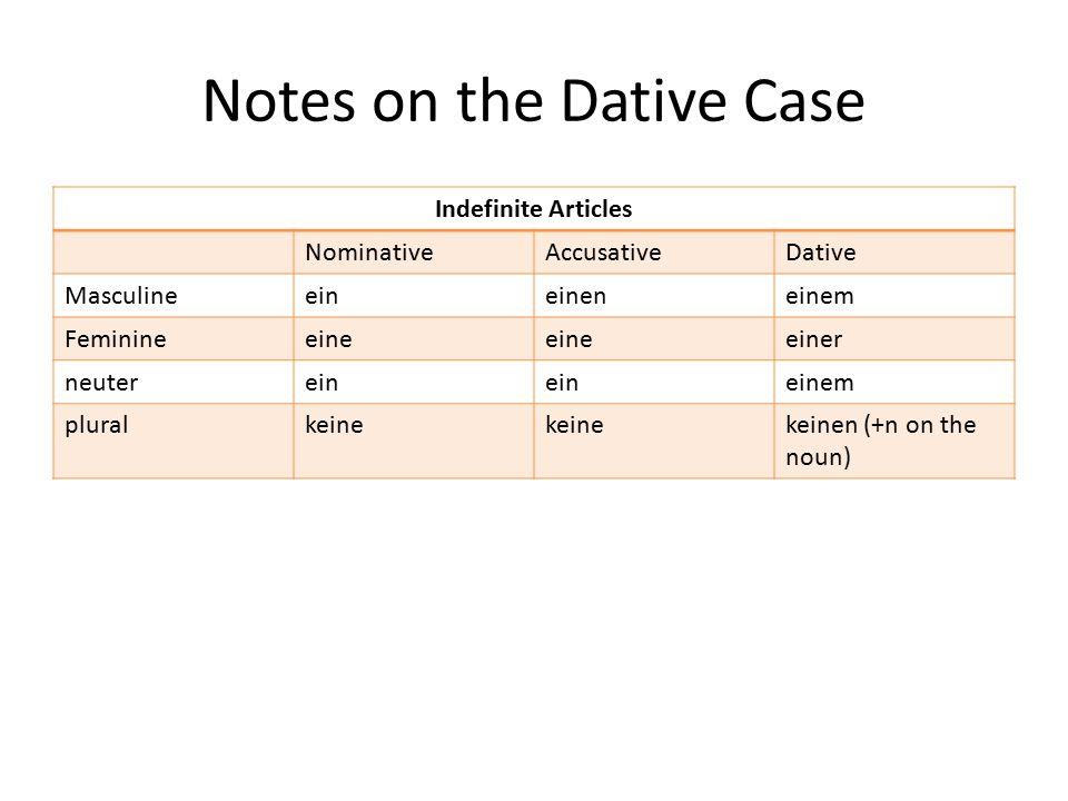 Notes on the Dative Case Indefinite Articles NominativeAccusativeDative Masculineeineineneinem Feminineeine einer neuterein einem pluralkeine keinen (+n on the noun)