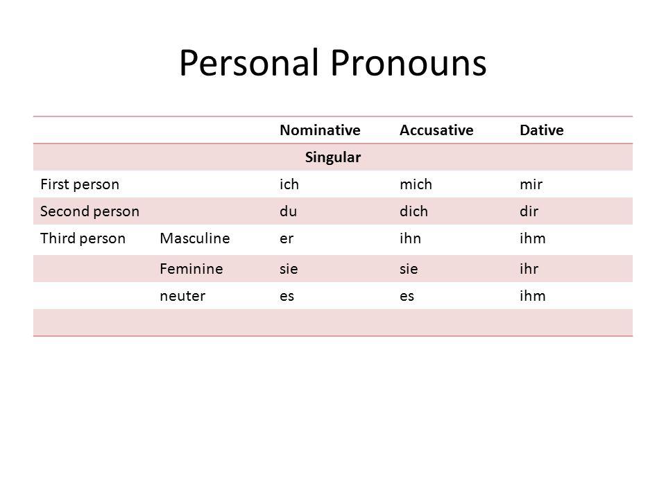 Personal Pronouns NominativeAccusativeDative Singular First personichmichmir Second persondudichdir Third personMasculineerihnihm Femininesie ihr neut