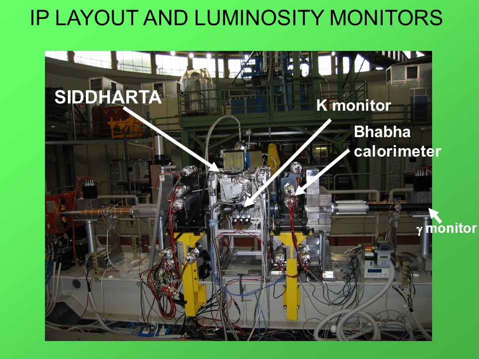 SIDDHARTA K monitor Bhabha calorimeter  monitor IP LAYOUT AND LUMINOSITY MONITORS