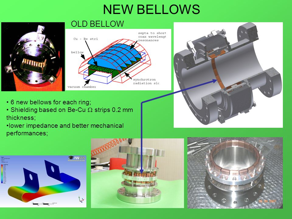 NEW BELLOWS 6 new bellows for each ring; Shielding based on Be-Cu  strips 0.2 mm thickness; lower impedance and better mechanical performances; OLD BELLOW