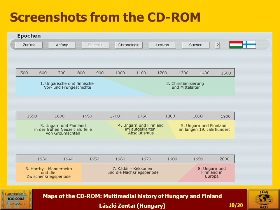 Maps of the CD-ROM: Multimedial history of Hungary and Finland László Zentai (Hungary) 10/28 Screenshots from the CD-ROM