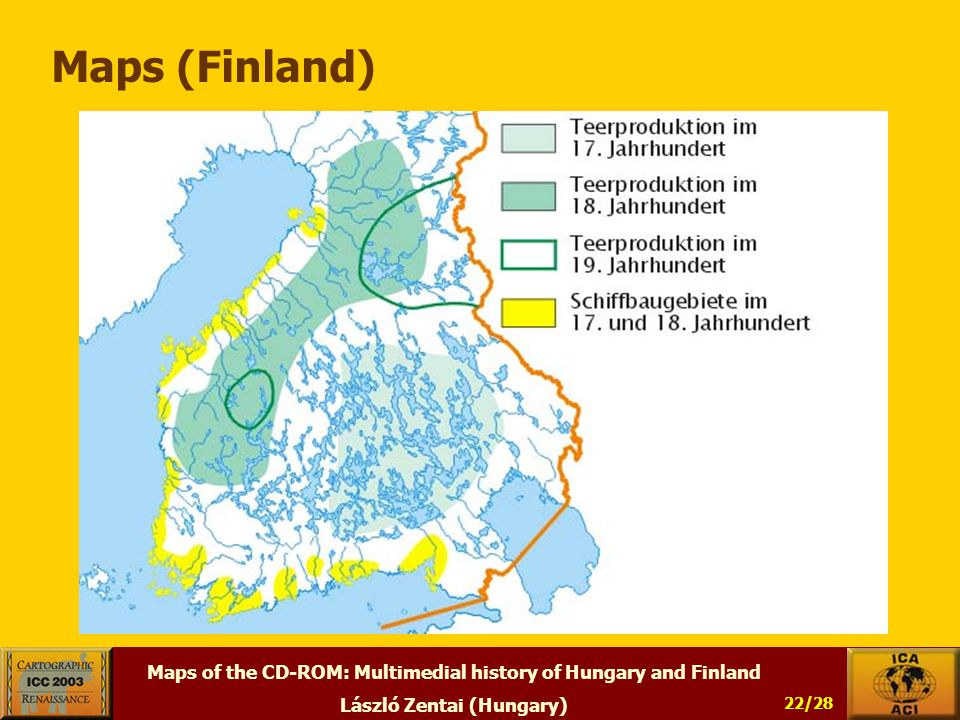 Maps of the CD-ROM: Multimedial history of Hungary and Finland László Zentai (Hungary) 22/28 Maps (Finland)