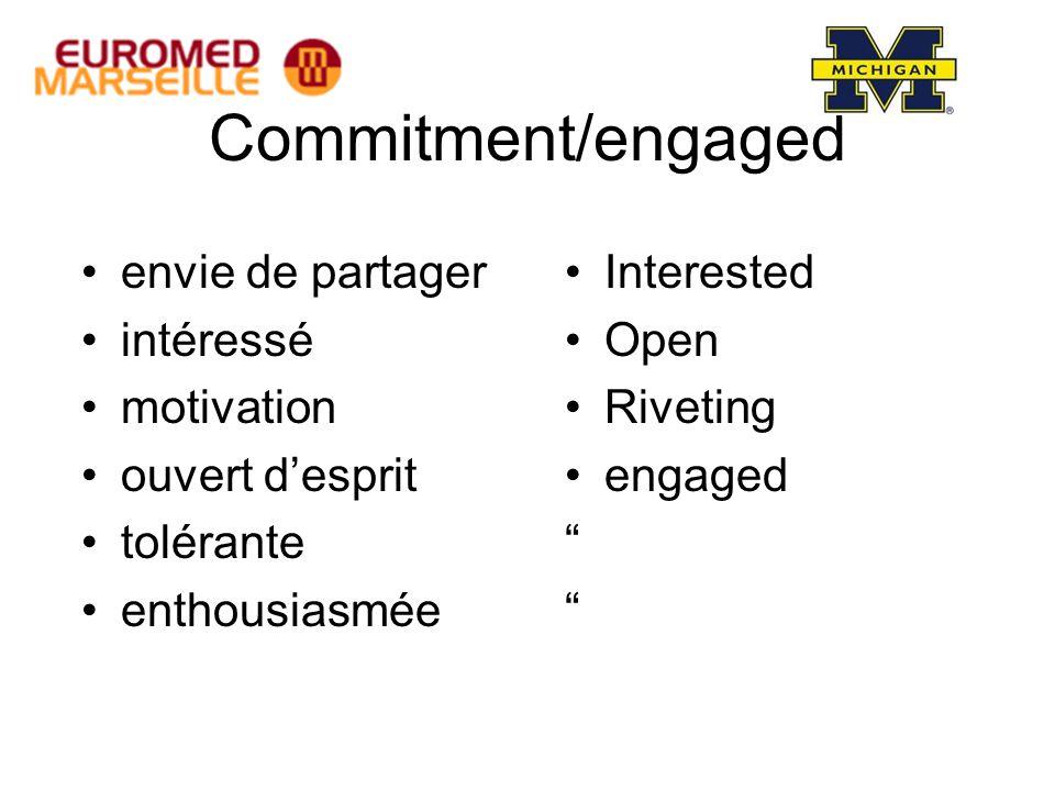 Commitment/engaged envie de partager intéressé motivation ouvert d'esprit tolérante enthousiasmée Interested Open Riveting engaged
