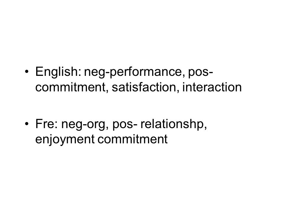 English: neg-performance, pos- commitment, satisfaction, interaction Fre: neg-org, pos- relationshp, enjoyment commitment