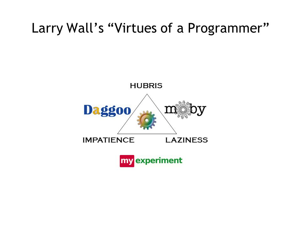 Larry Wall's Virtues of a Programmer HUBRIS LAZINESSIMPATIENCE
