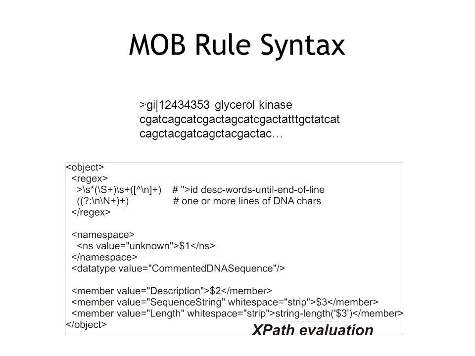 MOB Rule Syntax >gi 12434353 glycerol kinase cgatcagcatcgactagcatcgactatttgctatcat cagctacgatcagctacgactac…