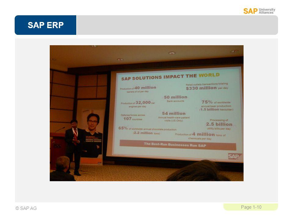 SAP ERP Page 1-10 © SAP AG