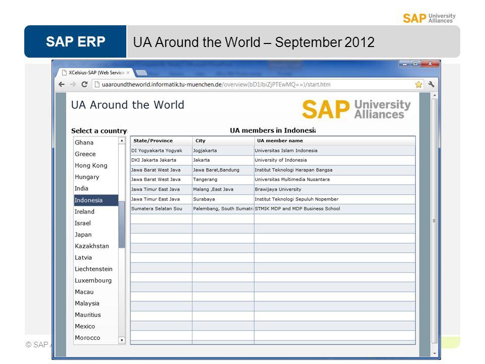 SAP ERP Page 1-13 © SAP AG UA Around the World – September 2012