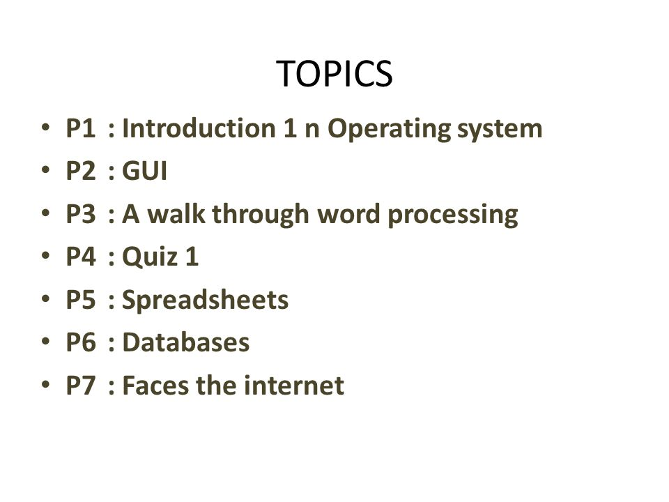 UTS P8: Graphics and design P9: Desktop publishing P10: Web design P11: Quiz II P12: Job vacancy P13: Application letter and CV P14: Job interview UAS