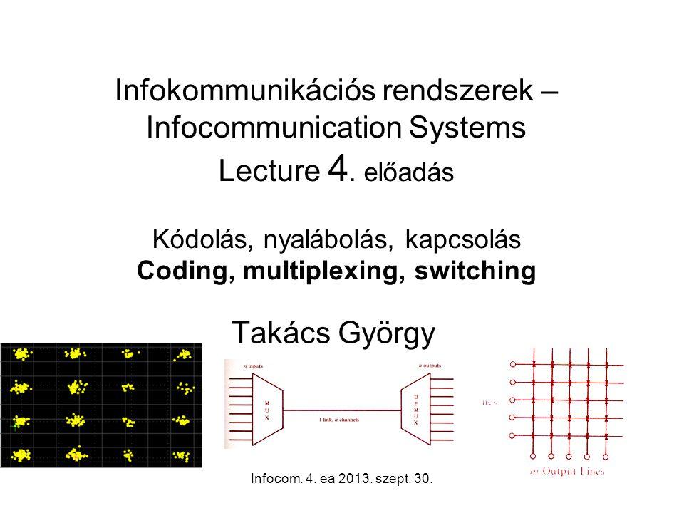 Infocom. 4. ea 2013. szept. 30.12 Digital modulation methods – Binary Phase Shift Keying (BPSK)