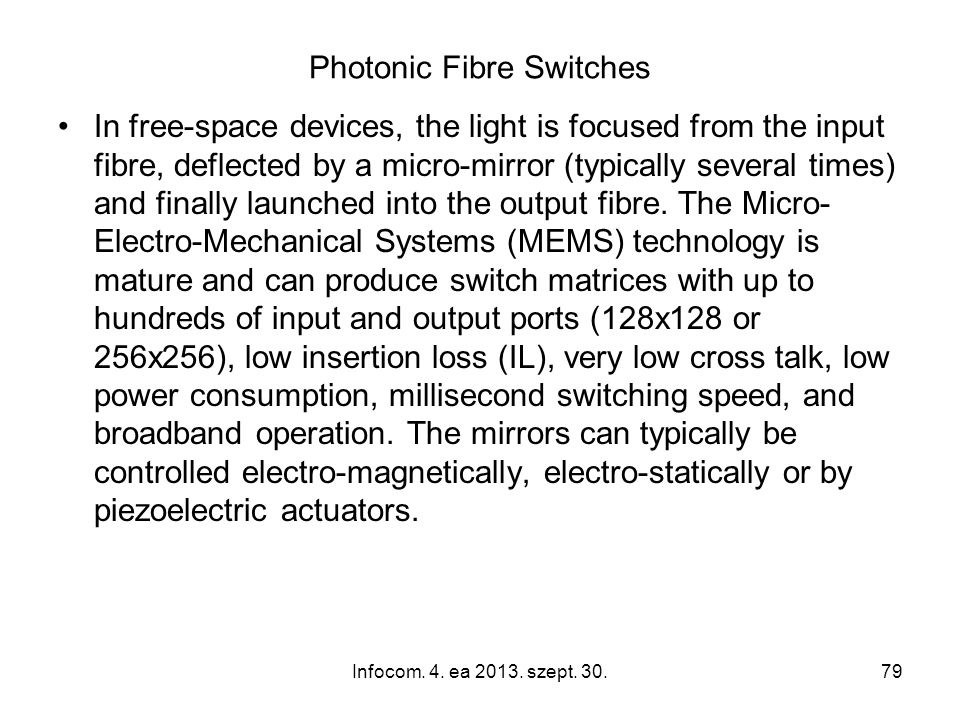 Photonic Fibre Switches In free-space devices, the light is focused from the input fibre, deflected by a micro-mirror (typically several times) and finally launched into the output fibre.