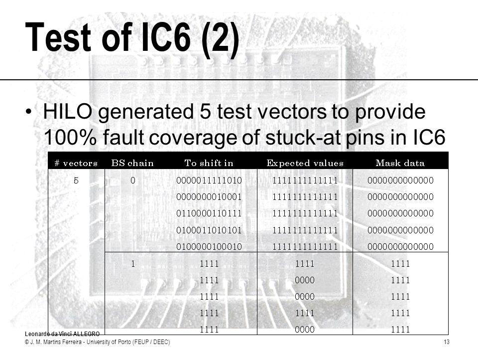 Leonardo da Vinci ALLEGRO © J. M. Martins Ferreira - University of Porto (FEUP / DEEC)13 Test of IC6 (2) HILO generated 5 test vectors to provide 100%