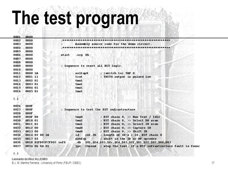 Leonardo da Vinci ALLEGRO © J. M. Martins Ferreira - University of Porto (FEUP / DEEC)17 The test program
